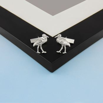Stork Cufflinks In Sterling Silver