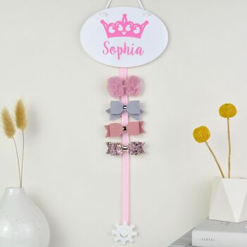 Personalised Crown Hair Bow Holder 15 Colours
