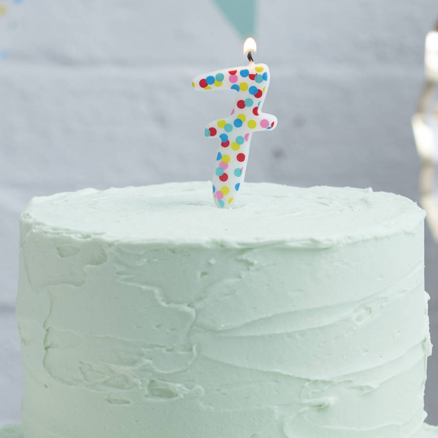 Polka Dot Candle Number Seven Birthday Cake By Ginger Ray