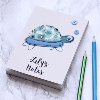 Personalised Turtle Embroidered Notepad