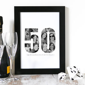 Personalised Birthday Photo Print 30th, 40th, 50th - typography