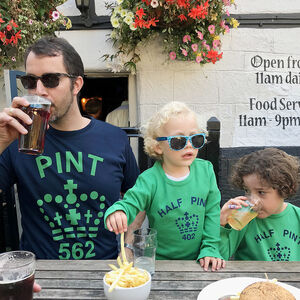 Dad And Child Twinning Pint Tshirt Blue Green Top Set