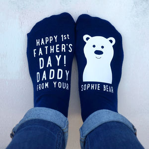 Personalised 1st Father's Day Bear Socks - fashion sale