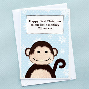 'Little Monkey' Baby's First Christmas Card