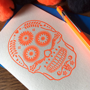 'Candy Skull' Letterpress Card