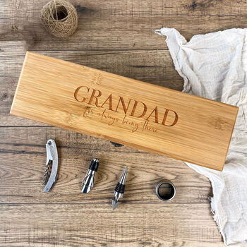 Personalised Wine Box And Accessories