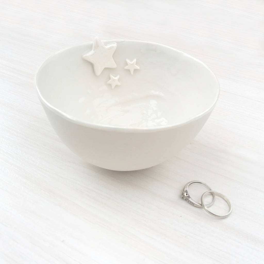 Porcelain Decorative Bowl With Pearl Stars