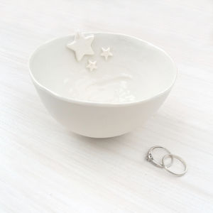 Porcelain Decorative Bowl With Pearl Stars - jewellery storage & trinket boxes