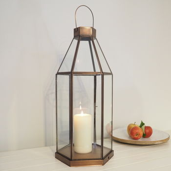 Tall Brass Candle Lantern