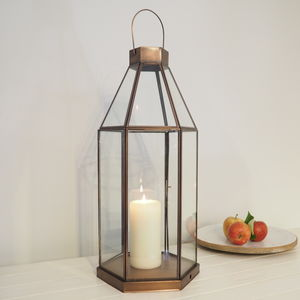Tall Brass Candle Lantern - home accessories