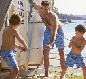 Father And Son Blue Pineapple Swimming Trunks