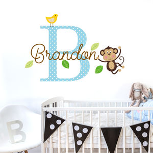 Personalised Name Initial Monkey Wall Sitcker - wall stickers