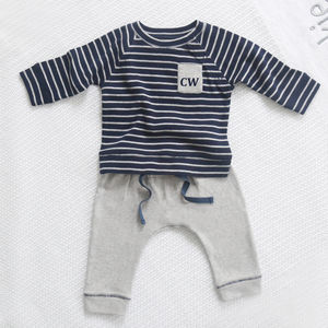 Boys Blue And Grey Top And Bottom Set