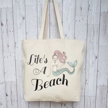 'Lifes A Beach' Cotton Canvas Tote Bag