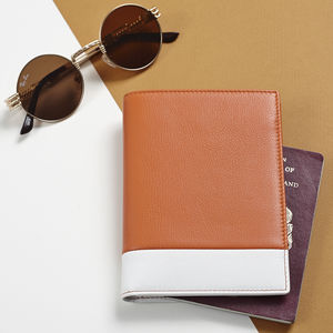 Soft Leather Passport Wallet With Monogrammed Initials