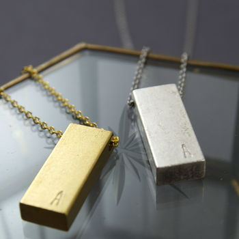 Personalised Stamped Gold Or Silver Bar Necklace