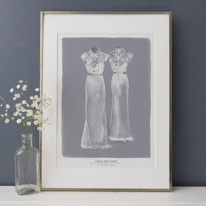 Illustrated Wedding Dress Portrait - best wedding gifts