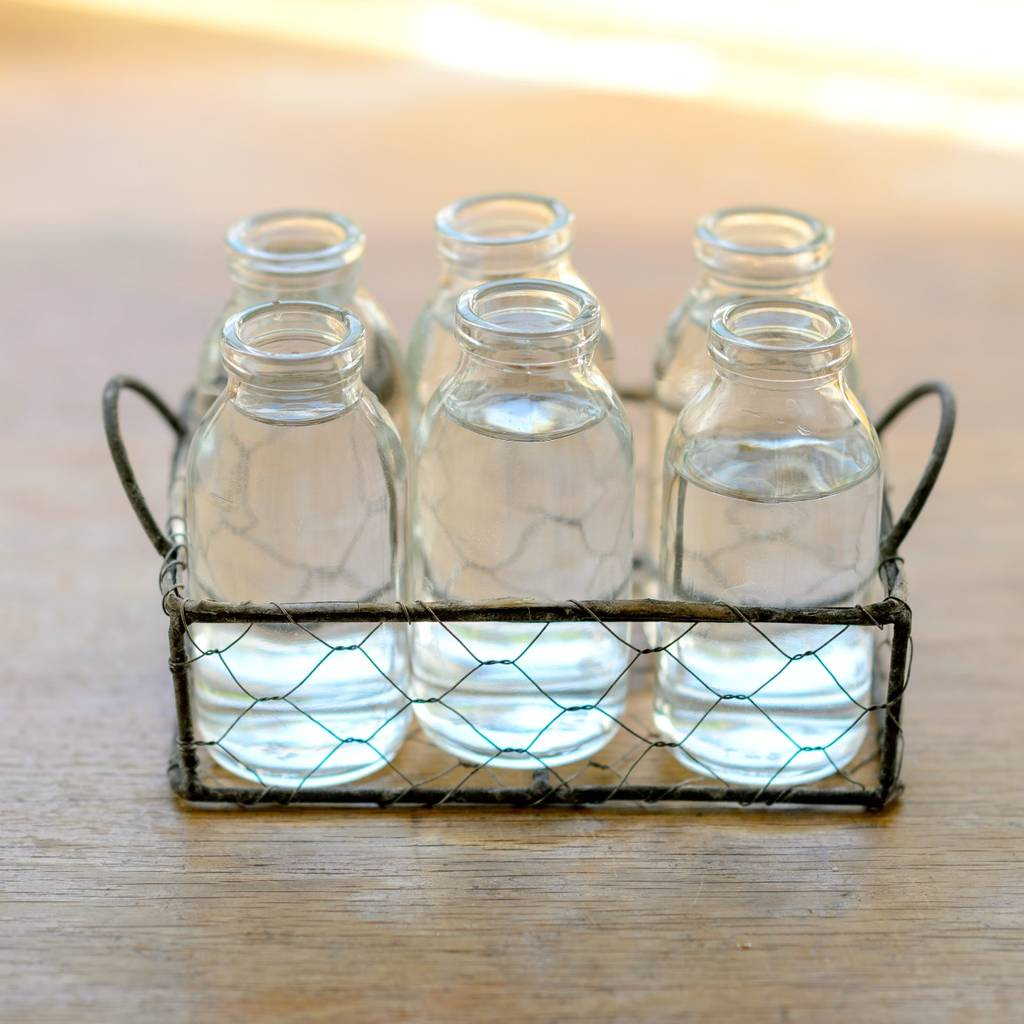 Mesh Basket With Six Vintage Mini Milk Bottle Vases By The