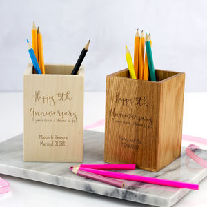 Personalised 5th Anniversary Wooden Pen Pot - desk accessories