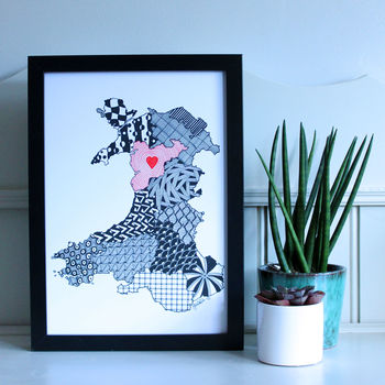 Personalised Maps Of Wales Print