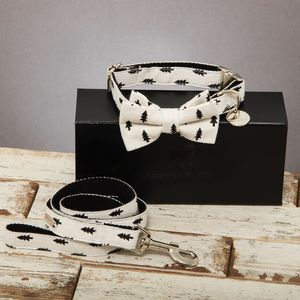 The Balmoral Black And White Tree Bow Tie And Lead Set