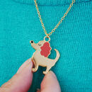 Cute Dog Charm Necklace Gold Plated
