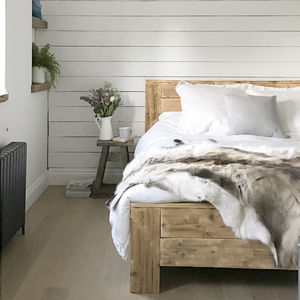 Reclaimed Wood Bed - new in home
