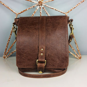 Brown Leather Merritt Messenger Bag - bags & purses