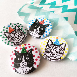 Set Of Party Cat Badges - children's jewellery