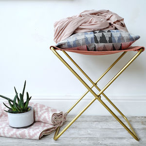Cotton Canvas And Metal Frame Stool - new in home