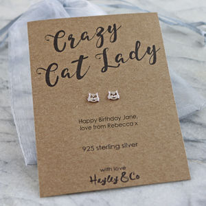 Cat Sterling Silver Earrings - personalised