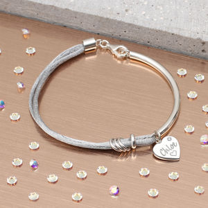 Personalised Diamond And Sterling Silver Silk Bangle - bracelets & bangles
