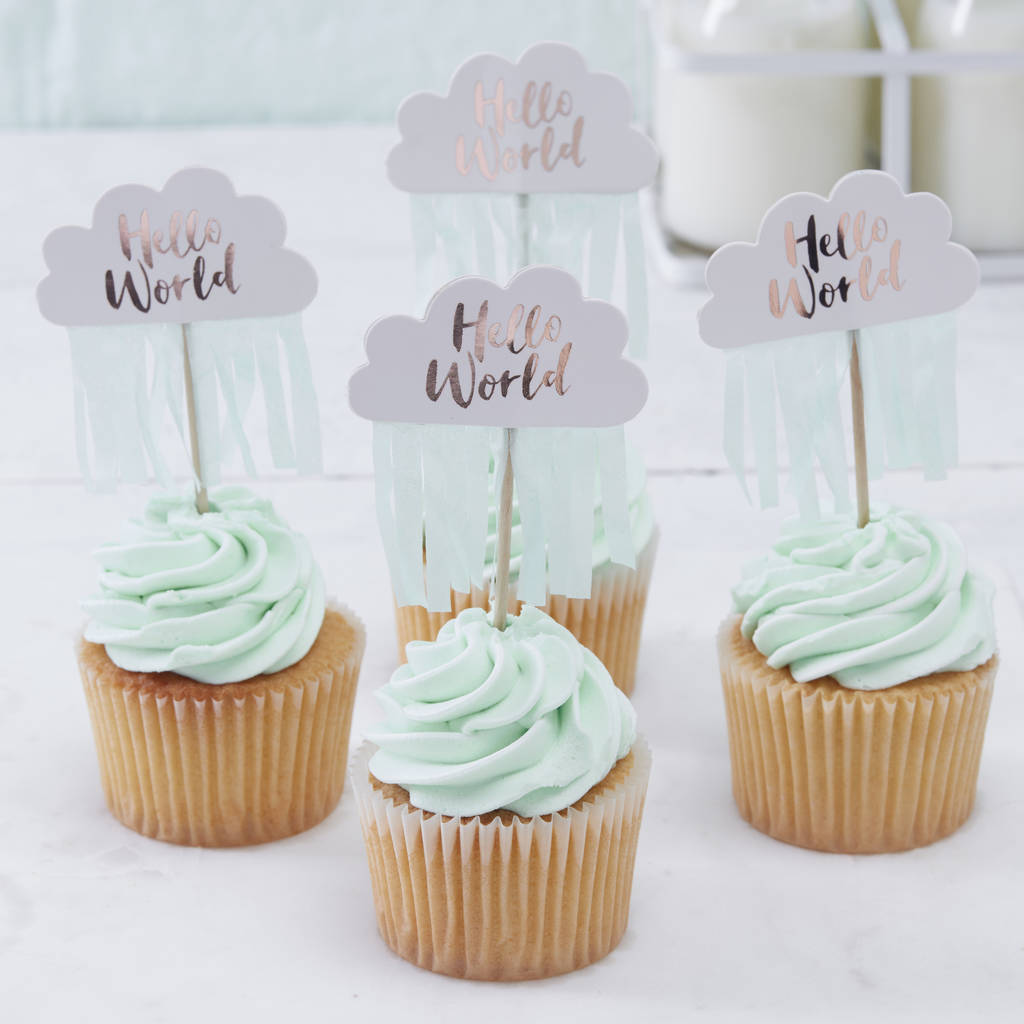 Rose gold cloud shaped baby shower cupcake toppers by for Baby shower cupcake picks decoration