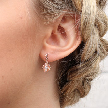 18ct Rose Gold Woodland Rose Earrings