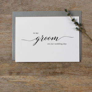 'To My Groom' Wedding Card - wedding cards