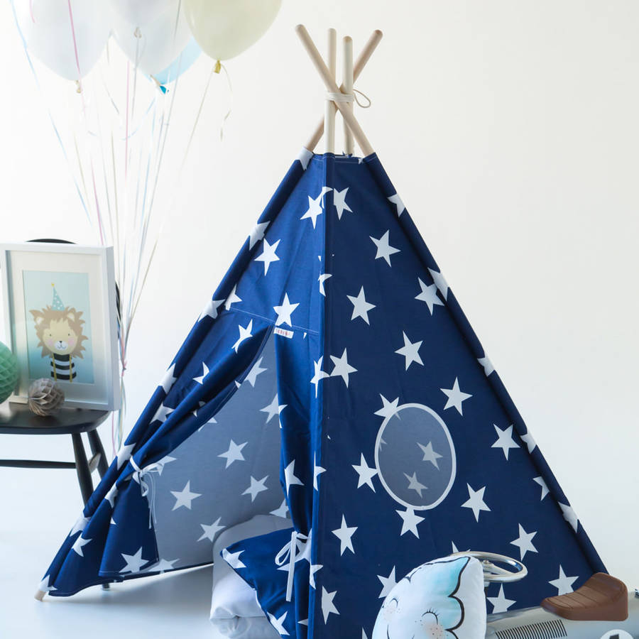 Kids Teepee Tent Blue Set With Stars And Window : kids teepee tent - memphite.com