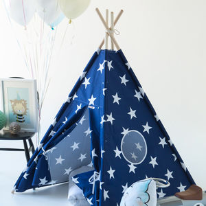 Kids Teepee Tent Blue Set With Stars And Window