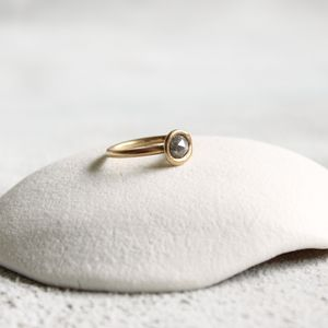 Rose Cut Diamond Ring In Yellow Gold - rings