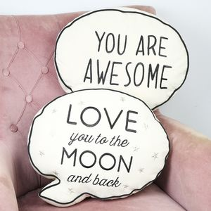 Speech Bubble Quote Cushion - bedroom