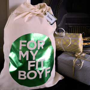 Boyfriend Present Gift Sack With Personalised Tag - stockings & sacks