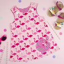 Girls Flamingo Dress And Birthday Rosette Set