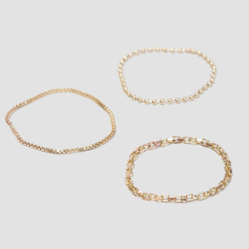 Alice eden delicate gold stacking chain rings set