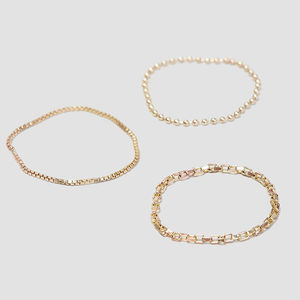 Delicate Triple Chain Rings - wedding rings