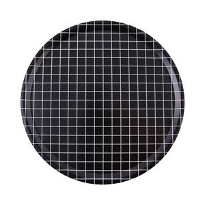 Black Check Round Tray