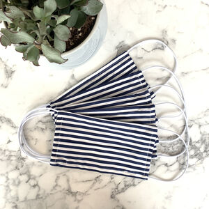 Pack Of Five Striped Navy 100% Cotton Facemask