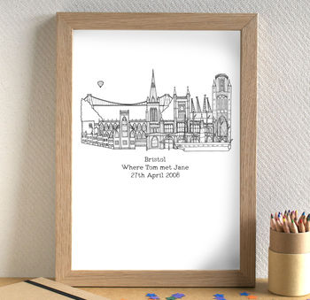 'Where We Met' Anniversary Skyline Art Print Unframed