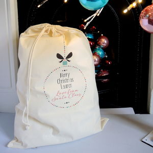 Personalised Colourful Bauble Christmas Sack