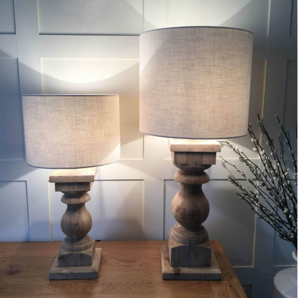 Natural Wood Table Lamp And Natural Drum Woven Shade By