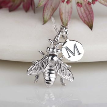 Personalised Solid Silver Honey Bee Necklace