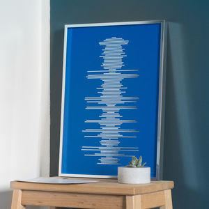 Minimalist Metallic Soundwave Print - for him